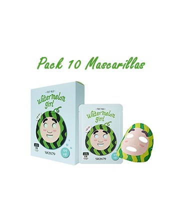 Pack 10  Mascarillas-Watermelon Girl Fruit Mask
